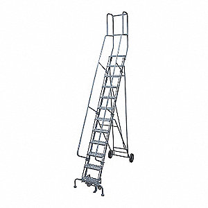 "16-Step Rolling Ladder, Expanded Metal Step Tread, 202"" Overall Height, 450 lb. Load Capacity"
