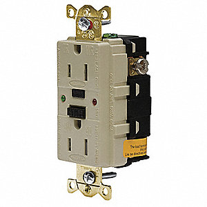 15A Industrial Environments GFCI Receptacle, Ivory&#x3b; Tamper Resistant: Yes