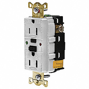 GFCI RECEPTACLE,15 A,WHITE,INDUSTRIAL