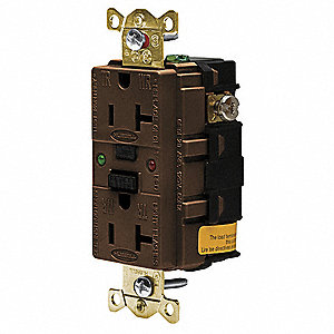 20A Industrial Environments GFCI Receptacle, Brown&#x3b; Tamper Resistant: Yes