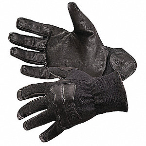 Goatskin Leather Driver's Gloves with Slip-On Cuff, Black, 2XL