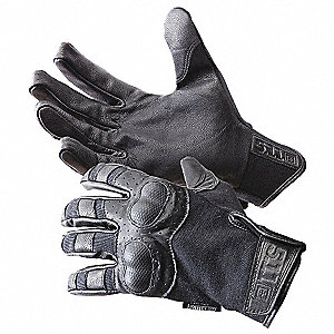 Goatskin Leather Gloves with Hook-and-Loop Cuff, Black, S