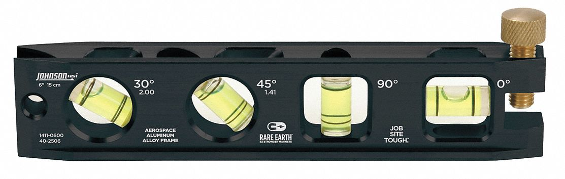 Johnson Level /& Tool 1411-0600 4 Vial 6 Aluminum Torpedo Level 6 Aluminum Torpedo Level
