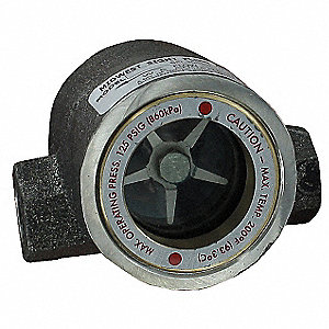 "316 Stainless Steel Window Sight Flow Indicator with Impeller, 1-1/2"" Pipe Size, FNPT Connection Typ"