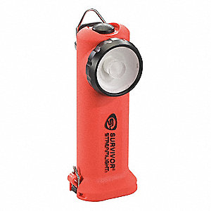 Industrial LED Handheld Flashlight, Nylon, Maximum Lumens Output: 175, Orange