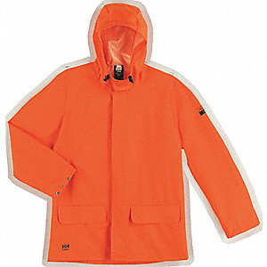 "Men's Orange PVC and Polyester Rain Jacket, Size 3XL, Fits Chest Size 50"" to 51-1/2"", 34"" Jacket Len"
