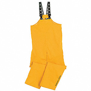 Rain Bibs,PVC/Polyester,Yellow,XL