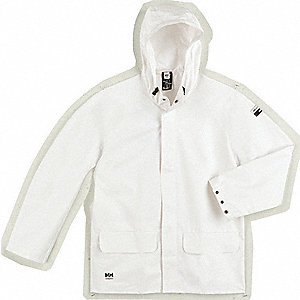 HELLY HANSEN Men's White PVC and Polyester Rain Jacket, Size L ...