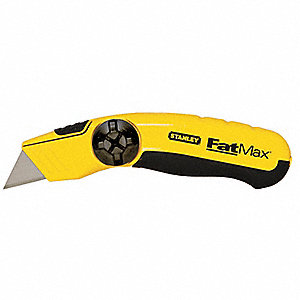 "Black/Yellow,Carbon Steel Utility Knife,6-1/4"" Overall Length,Number of Blades Included: 3"