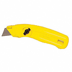 "Yellow,Carbon Steel Utility Knife,7-1/4"" Overall Length,Number of Blades Included: 3"