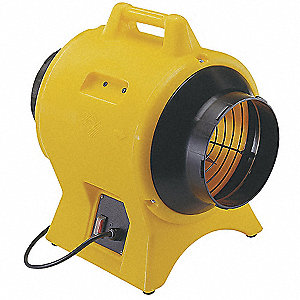 Axial Confined Space Fan, 1/4 HP, 115VAC Voltage, 3000 rpm Blower/Fan Speed