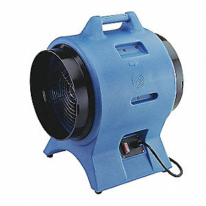 Axial Confined Space Fan, 1 HP, 115VAC Voltage, 3300/2800 Rpm Blower