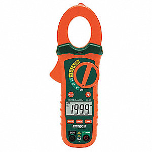 "Clamp On Digital Clamp Meter, 1-13/64"" Jaw Capacity, CAT III 600V"