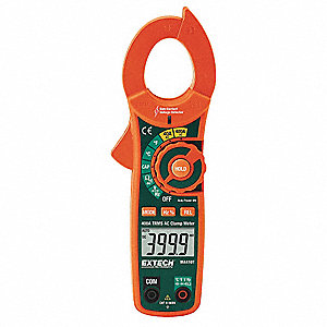 "Clamp On Digital Clamp Meter, -4° to 1400°F Temp. Range, 1-7/32"" Jaw Capacity, CAT III 600V"