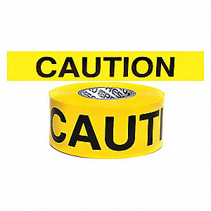 "Barricade Tape, Yellow, 3-3/4"" x 500 ft., Caution"