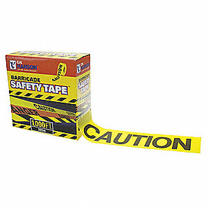 "Barricade Tape, Yellow, 3"" x 1000 ft., Caution"