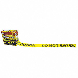 "Barricade Tape, Yellow, 3"" x 1000 ft., Caution Do Not Enter"