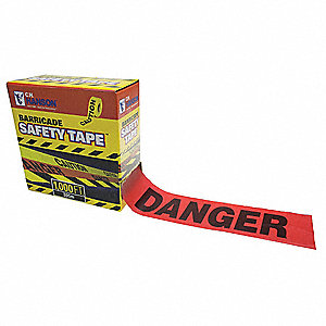 Barricade Tape,Danger,Red,1000 ft,Poly