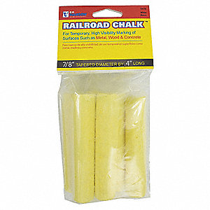 Railroad Chalk,White,Tapered,4 In,PK6
