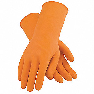 Latex Chemical Resistant Gloves, 28 mil Thickness, Cotton Flock Lining, Size M, Orange, PK 12