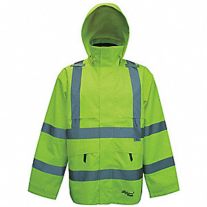 Rain Jacket w/Hood,Men's,Hi-Vis Lime,S