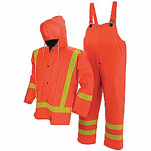 Unisex 0.35mm FR Treated PVC/Polyester/PVC Flame-Resistant 3-Piece Rainsuit with Hood, Hi-Visibility