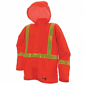 Flame Resistant Rain Jacket, PPE Category: 0, High Visibility: No, Polyester, Polyurethane, L, Orang