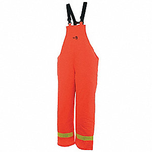 Flame Resistant Rain Bib Overall, PPE Category: 0, High Visibility: No, Polyurethane, XL, Orange
