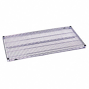 "72""W x 21""D Wire Shelf, Chrome Plated Finish, 600 lb. Shelf Capacity, Silver"