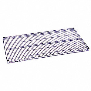 "72""W x 21""D Wire Shelf, Chromate Finish, 600 lb. Shelf Capacity, Silver"