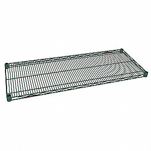 "48""W x 21""D Wire Shelf, Epoxy Finish, 800 lb. Shelf Capacity, Green"