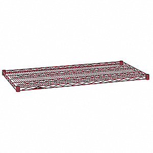 "24""W x 21""D Wire Shelf, Epoxy Finish, 800 lb. Shelf Capacity, Flame Red"