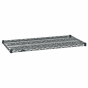 "60""W x 24""D Wire Shelf, Epoxy Finish, 600 lb. Shelf Capacity, Smoked Glass"