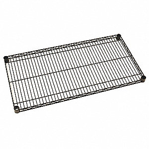 "48""W x 24""D Wire Shelf, Epoxy Finish, 800 lb. Shelf Capacity, Black Matte"