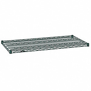 "42""W x 14""D Wire Shelf, Epoxy Finish, 800 lb. Shelf Capacity, Hunter Green"
