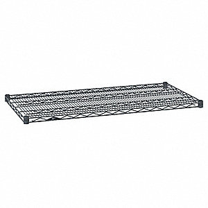 "72""W x 14""D Wire Shelf, Epoxy Finish, 600 lb. Shelf Capacity, Silver Hammertone"