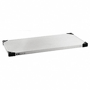 "36""W x 18""D Solid Shelf, Stainless Steel Finish, 800 lb. Shelf Capacity, Silver"