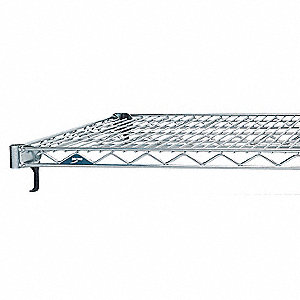 "48""W x 14""D Wire Shelf, Stainless Steel Finish, 800 lb. Shelf Capacity, Silver"
