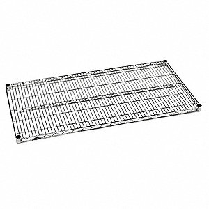 "48""W x 18""D Wire Shelf, Stainless Steel Finish, 800 lb. Shelf Capacity, Silver"