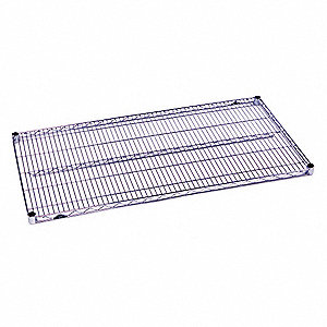 "30""W x 18""D Wire Shelf, Chromate Finish, 800 lb. Shelf Capacity, Silver"