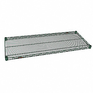 "72""W x 21""D Wire Shelf, Epoxy Finish, 600 lb. Shelf Capacity, Green"