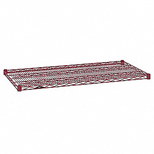 "30""W x 24""D Wire Shelf, Epoxy Finish, 800 lb. Shelf Capacity, Flame Red"