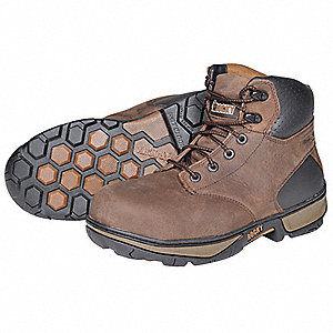 "6""H Men's Work Boots, Steel Toe Type, Leather Upper Material, Darkwood, Size 10M"