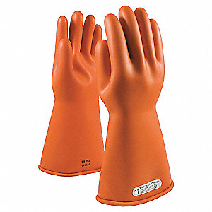 ELECTRICAL RATED GLOVES,ORG,CLASS 1