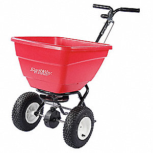 Broadcast Spreader, 130 lb. Capacity, Pneumatic Wheel Type, 3 Hole Drop Type, Adjustable T Handle