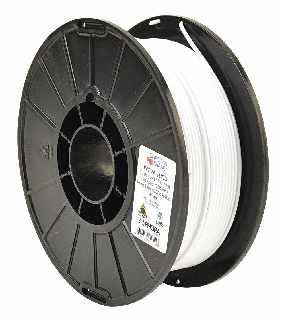 3D Printing Filament,  PETG,  White,  Diameter 3 mm,  1.00 kg