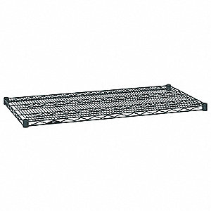 "24""W x 18""D Wire Shelf, Epoxy Finish, 800 lb. Shelf Capacity, Smoked Glass"