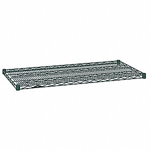 "60""W x 18""D Wire Shelf, Epoxy Finish, 600 lb. Shelf Capacity, Hunter Green"