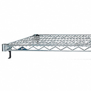 "30""W x 24""D Wire Shelf, Stainless Steel Finish, 800 lb. Shelf Capacity, Silver"