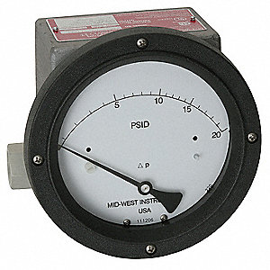 "1/4"" FNPT Differential Pressure Gauge with 4-1/2"" Dial, 0 to 30 psi, 316 Stainless Steel"